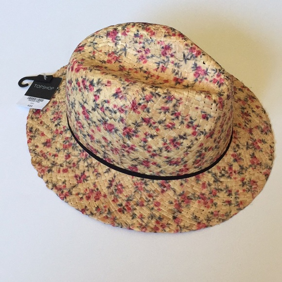 NEW Topshop fedora floral wicker spring hat womens 64e25a47bd9b